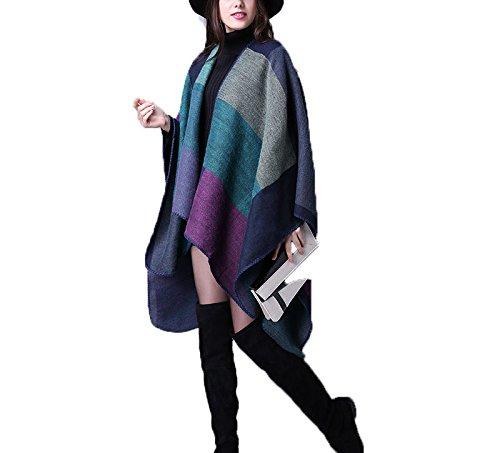 Hippolo pour femme Bloc de couleur ouvert à l'avant Couverture Poncho Dark Blue Mud violet