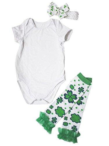 St Patrick Day Dress Cotton Jumpsuit with Leafs Leg Warmer Baby Set Nb-24m (3-6 Monat, Weiß) (Tag-socken Patrick St)
