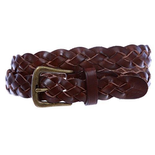 beltiscool De la Mujer 11/8'trenzado Skinny estrecho cinturón de piel - - Small/Medium - 81 cm