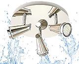 Trango 3 fiamme Lampada da bagno a LED IP44 in Rondell, plafoniera TG1009-32R in nichel opaco & cromo Lampada da sala, da toilette & da soffitto, faretti a soffitto, tra cui 3 lampadine a LED da 5 W