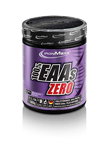 IronMaxx 100% EAAs Zero, Wildberry - Reines Aminosäuren-Pulver - Zuckerfreies Supplement für den Muskelaufbau - 1 x 500 g Pulver