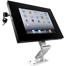 xoxxox Tech - Soporte de pared y soporte de mesa orientable para iPad 1,2,3,4,Air, Air 2(con articulaciones de aluminio y carcasa protectora antirrobo, con función appstop), color plata y negro
