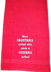 Wenn Faustball einfach wäre, würde es Fußball heißen; Badetuch Sport, rot