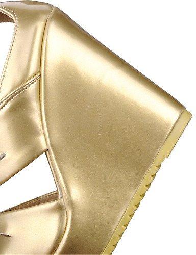 LFNLYX Scarpe Donna-Sandali-Matrimonio / Formale / Casual / Serata e festa-Zeppe-Zeppa-Materiali personalizzati-Bianco / Argento / Dorato Silver