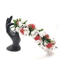 Satyam Kraft Adjustable Wooden Stick Red Floral Tiara for Girls Floral Crown with Golden Bead/Valentine Tiara