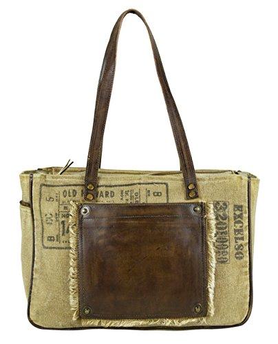 Sunsa Vintage Taschen , Sac pour femme à porter à l'épaule Marron Marron/beige