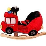 Stimo24 Schaukeltier / Baby Kind Schaukel (mit Sicherheitsgurt und Kippschutz) (Feuerwehr)