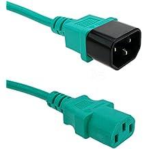 Cablematic - Cable eléctrico de alimentación IEC60320 C13 a C14 de color verde de 1.8m