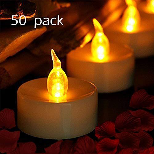 YIWER LED Kerzen,50 Stück LED Teelichter Kerzen CR2032 Batterie betrieben Kerzen unscented flammenlose Teelicht (warmes Gelb 50pcs)