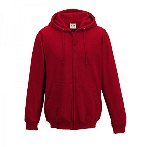 Awdis Plain Herren Hooded Full Reißverschluss Hoodie Hoody Kapuzenpullover / Zoodie (L) (Fire Red) - Heavy Full Zip Sweater