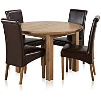 190453d7a26e Knightsbridge Natural Solid Oak 4ft Round Extending Table with 4 Scroll  Back Brown Leather Chairs