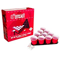Idea Regalo - Original Beer Pong Kit Ufficiale Premium Quality - 22 Grandi Bicchieri Americani - 2 Triangoli con Piatti - 4 Palle di Beer Pong - Regole Ufficiali di Beer Pong - Gioco Serale - Gioco Bevente