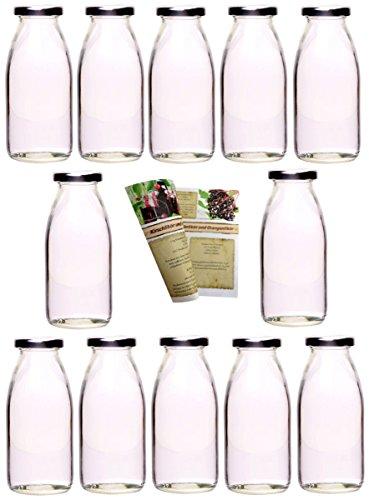 gouveo 60er Set Saftflasche 250 ml inkl. Schraubverschluss Silber, Likörflasche, Schnapsflasche
