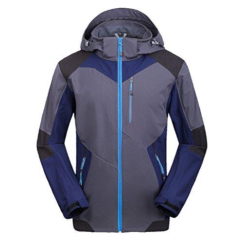 Zhhlaixing Winter Casual Mens Outdoor Walking Windproof Jacket Soft shell Coat Loisir Waterproof Jacket gray