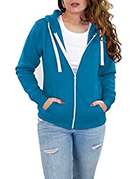 b819637ec3 Womens Hoodies Plain Zip Up Hoody Top Ladies Fleece Hooded Sweatshirt Jacket  S M L XL
