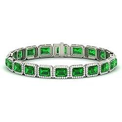 3e4dcc52253b Silvernshine Jewels Pulseras de Esmeralda y Diamantes de Talla Esmeralda DE  13.3 CT en Brazalete de