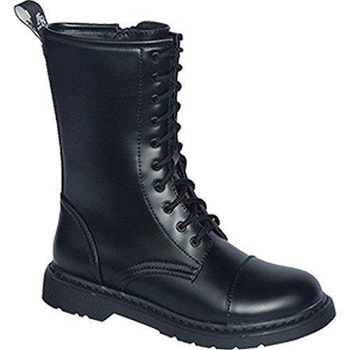 Knightsbridge 10 Trou Bottes foncé Creationz avec fermeture éclair ROYAUME-UNI Gothique bottes différentes couleurs 37-46 Noir