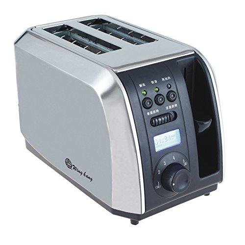 Toaster Yixin 2 Stück, Multifunktionskonsole, LCD-Zeitanzeige, Schwarz + Metallsilber, 28 * 17 * 18cm (Toaster-lcd)