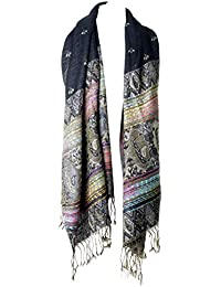 Ladies Womens Reversible Two Way 2 in 1 Moroccan Inspired, Paisley Design Jacquard Scarf with Tassels