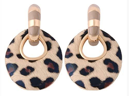 Damen Ohrringe Flash Leder Ohrring Leopard Camel -