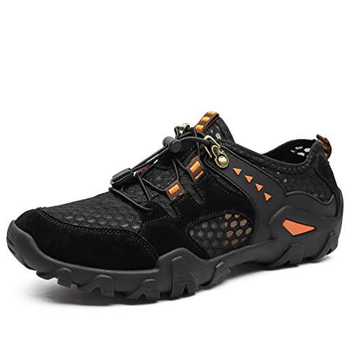 FLARUT Herren Outdoorsandalen Sommer Wanderschuhe Trekking Sandalen Super Atmung Laufschuhe Wanderhalbschuhe Lässige Sneaker Sportsandalen(schwarz,45) -