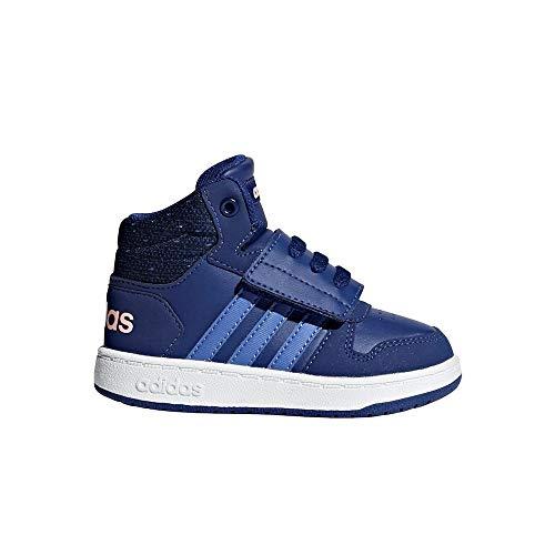 Adidas hoops mid 2.0, scarpe da ginnastica basse unisex-bimbi, blu mysink/realil/cleora, 24 eu