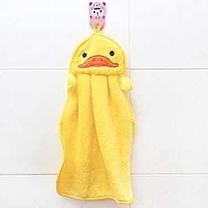 Asciugamano per bambini in tessuto morbido e soffice, con motivi di animali dei cartoni animati e gancio per appenderlo Yellow Duck