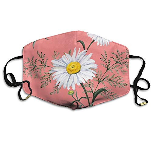 SDFDD Mouth Maske,Watercolor Daisy Face Mask, Reuseable Polyester Face Mouth Mask Respirator For Cycling Anti Dust For Unisex Men Women Girls -