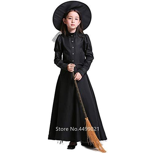 Gothic Kostüm Toten Mädchen - FHSIANN Gothic Hexe Halloween Kleid für Frauen Mädchen Scary Cosplay Vampire Cap + Kleid Tag derToten Phantasie Vampire Purim Karneval Party