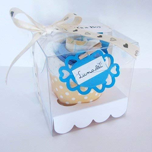 Elegante Box mit Cupcake (Marke Baumwollsocken + DODOT Windel) | Blauton, für Kinder | Baby Shower Geschenkidee, Geschenk zur Taufe, Souvenir für Gäste -