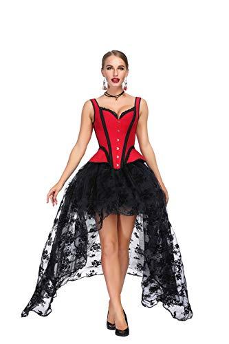 SZIVYSHI Mujer Sexy Gótico Vintage Steampunk Brocado Lace Satén Bone Correa Corset Bustier Top Rojo Corsé con Negro Largo Falda M