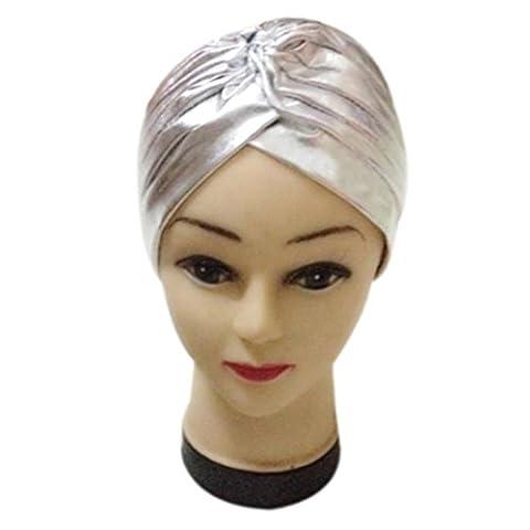 Damen Falten Dehnbar Caps, zahuihuiM Herbst Polyester Indien-Stil Baden Turban Hüte (Silber)