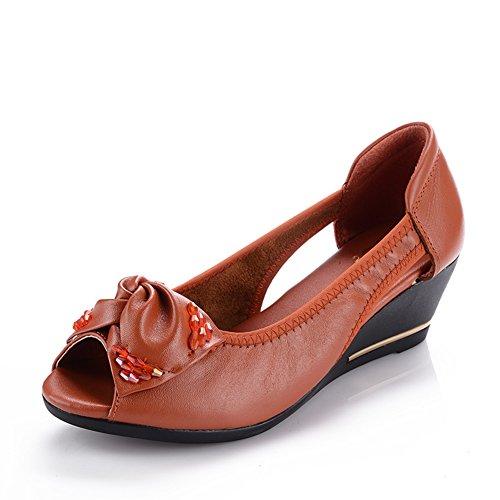 Peep toes/Middle sandales et chaussures féminines ans vieux/Fond mou, chaussures mamans/Chaussures de travail A