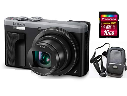 Panasonic TZ81 DMC-TZ81EG-S (Silber) Digitalkamera Set + 16 GB SD Speicherkarte + Tasche (18.1 MP, 30x Opt. Zoom (entspr. KB 24-720 mm), 7.6 cm LCD (3.0