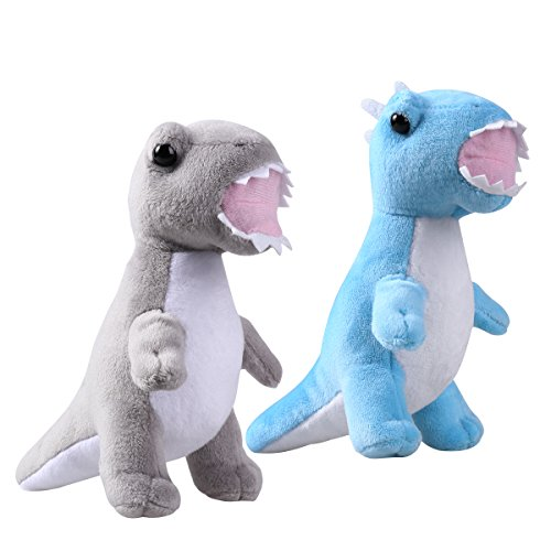 NUOLUX 2PCS Cute Plush Dinosaur Stuffed Animal Cushions Toys Adorable Gift for Kids Children (Grey and Sky-blue)