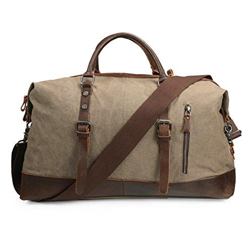 ECOSUSI Vintage Canvas Reisetasche Weekender für Reisen Sporttasche Echtleder Handgepäck 40 Liter
