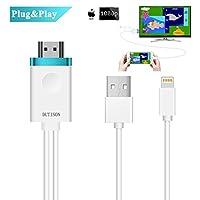 DUTISON Cable iPhone a TV HDMI Adaptador, HDMI Cable 1080P Digital AV Adaptador para iPhone/ iPad en TV/ Proyector/ Monitor Mediante HDMI (Compatible con iOS 9+)