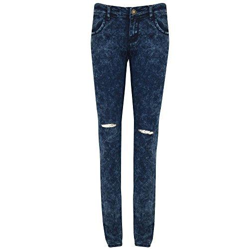 Be Jealous Neu Damen Zerschlissene Jeans Jeans Jeggings Knöchellang Enganliegend Leggings Hose - Denim Blau - Enge Passform Körper Umarmend Eng, S, 36 - Zerschlissene Jeans