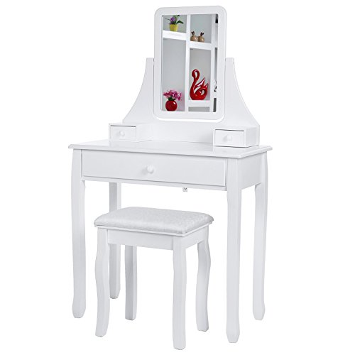 Songmics-Blanco-Tocador-Mesa-de-maquillaje-belleza-3-Cajones-Espejo-giratorio-Taburete-acolchado-80-x-40-x-136-cm-RDT003