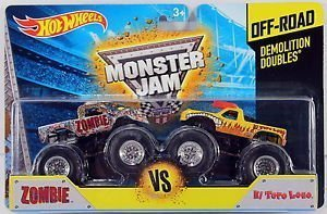 Hot Wheels Monster Jam off-road demolición Doubles Zombie Vs El Toro Loco