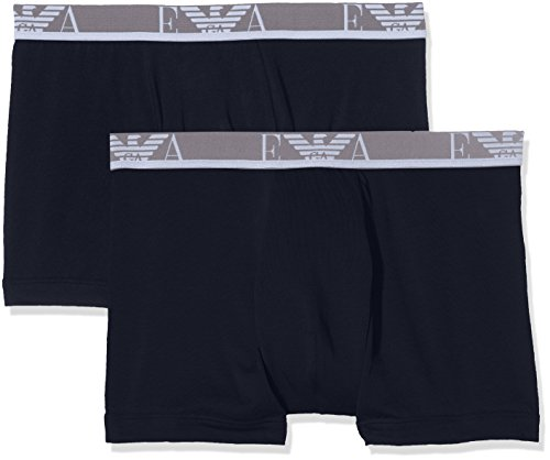 017e34594e Emporio Armani Intimates Men's Knit 2 Pack Plain Boxer Shorts, Blue  (Marine/Marine