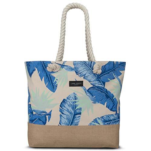 sche Floral Blue Beach Bag für Damen & Herren aus robustem Baumwoll Canvas & Jute - Badetasche mit Breiten Kordeln für angenehmen Große Tasche mit Reißverschluss ()