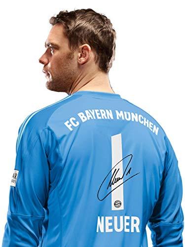 FC Bayern München Trikot Torwart, Manuel Neuer, Rückennummer mit Unterschrift Flock, blau Größe L