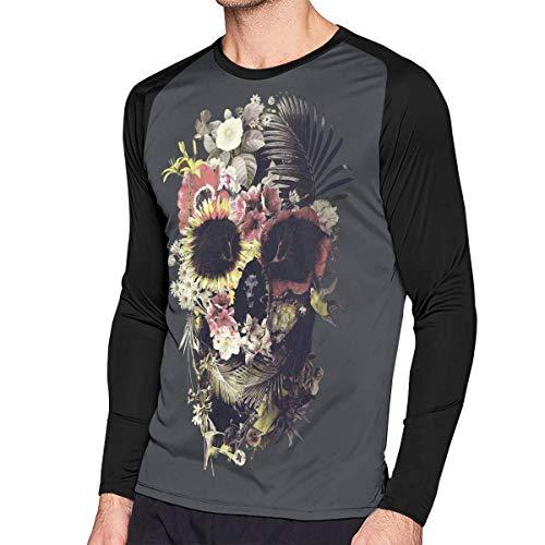 Herren Langarm Classic T-Shirt, Men's Casual Flower Skull Long Reglan T-Shirt -