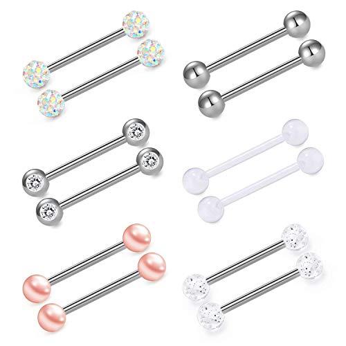 Incaton anelli capezzoli anello della lingua acciaio chirurgico anelli per capezzoli piercing donne argento barbells 14g 6 pairs 18mm