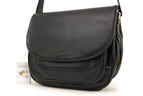Satteltasche/Handtasche Atlantic - mit Überschlag - Braun Leder - (2195) Größe: B: 28 cm, H: 22 cm, T: 14,5 cm Visconti