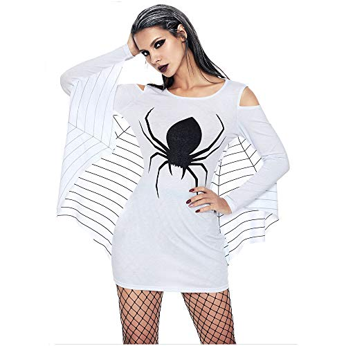Joker Seine Und Frau Kostüm - WANLN Halloween Teufel Schwarze Spinne Kostüm Kurze Phantasie Spinnennetz Kalte Schulter Fledermaus Flügel Ärmel Overall Frau,Weiß,XL