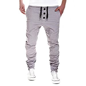 Yuutimko Mens Trousers Sweatpants Harem Pants Slacks Casual Jogger Dance Sportwear Baggy Fitness Sports Stitching Design Slacks Drawstring Apparel Jogging Casual Sport Trousers