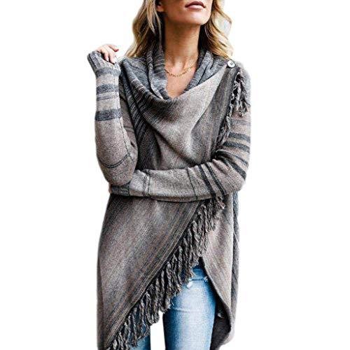 NNGUBIU Womens Speckled Fringe Striped Printed Sweater Coat Long Sleeve Irregular Asymmetric Tassels Hem Open Front Cardigan Poncho Knitted Shawl - Printed Long Sleeve Coat