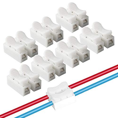 FULARR CH2 Conectores Cable Resorte, Conector Resorte Conector Rápido Kit, Conector de Bloque Terminal de Clamp de Cable Eléctrico, para Conectar Tiras de Luz LED –– 68Pcs Blanco